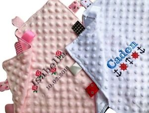 PERSONALISED BABY TAGGY BLANKET COMFORTER BOY GIRL EMBROIDERED SOFT SNUGLY GIFT