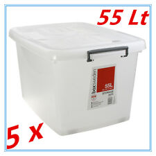 5 x 55Lt STORAGE TUB BOX CONTAINERS HEAVY DUTY ROLLER WHEEL LIDS CARRY HANDLES T
