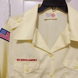 Womens Large Boy Scouts Of America BSA Uniform Blouse Shirt Yellow Size 42-44
