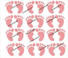 """Set of 12 Pink Baby Feet, 2"""" each perfect for baby shower, gender reveal"""