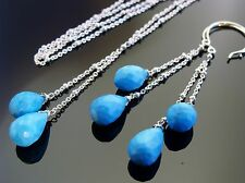 Sterling Silver Gemstone Necklace Earrings Genuine Sleeping Beauty Turquoise 925