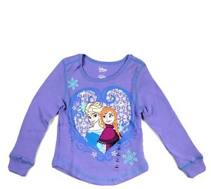 Disney Toddler Purple Long Sleeve Knit Frozen Anna Elsa Thermal Shirt Size 2 NEW