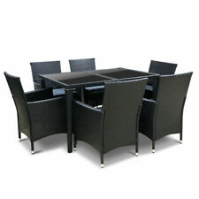 Gardeon 7 Piece Rattan Outdoor Dining Set - Black