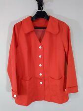 Vintage 1970s Red White Polka Dot Polyester Womens Blazer Jacket