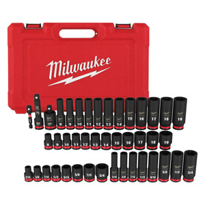 SHOCKWAVE 3/8 in. Drive SAE and Metric 6 Point Impact Socket Set (43-Piece)