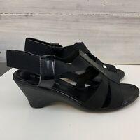 Ezywalkin Size 8 Black Wedge Strappy Sandals Elastic Straps Sling Back #569