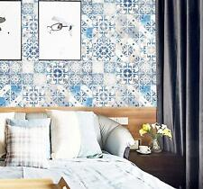 Peel and Stick Pattern Wallpaper Blue Self Adhesive Vinyl Film Decorative