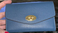 Mulberry Darley Medium Leather Wallet, Deep Sea Blue with Box, Bag and Papers
