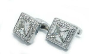Silver Colour Cufflinks with White Crystal stone with FREE GIFT Pouch