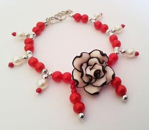 Polymer Rose & Red Pearls PET Dog Cat Necklace Collar HANDMADE Beads Pet Jewelry