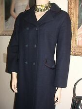 sleek Bromleigh New York vtg 60s dbl breasted wool coat winter spring navy M-L