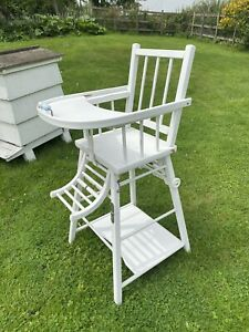 Zara Vintage Style Wooden Childs Baby Highchair Goes To Low Chair