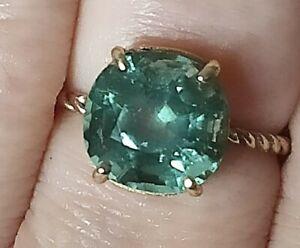 5.2ct Certified Natural Copper bearing blue green Paraiba tourmaline gold ring