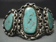 MUSEUM VINTAGE NAVAJO INTERLOCKING CHAIN TURQUOISE STERLING SILVER BRACELET OLD