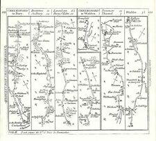 Antique map, The Roads from Chelmsford to Bury & to Walden