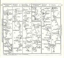 Antica mappa, le strade di Chelmsford seppellire & a Walden
