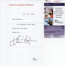 Katharine Hepburn Hand Signed Letter On Letterhead Those Were The Days Jsa