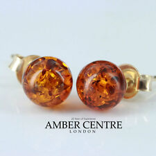 Italian Made Cognac Baltic Amber Bead Studs In 9ct Gold GS0152 RRP£70!!