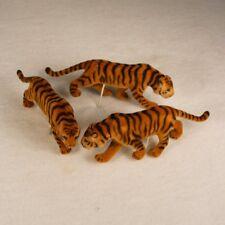 "Tiger Figure Animal 4 1/2"" Long Flocked 3 Piece Lot Fairy Garden"
