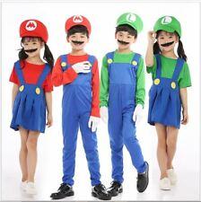 KIDS BOYS SUPER MARIO LUIGI BROS FANCY OUTFITS DRESS WORKMAN PLUMBER HALLOWEEN