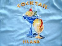 Nwt Caribbean Blue Herringbone Embroidered Cocktail Island Camp Shirt