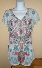 Hippie Festival Shirt V-Neck Long Blouse Top Small