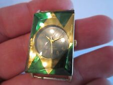 VINTAGE LAVA CRYSTAL WATCH - 18K GOLD PLATED - NO BAND - NOT WORKING - FACETED