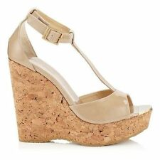 Womens High Heels Jimmy Choo Papyrus Metallic Leather Wedge Sandals Heels Factory Outlet