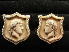 Estate 14K Gold Shield Cufflinks of Greek God / Athlete with Wreath of Diamonds