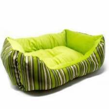 ALEKO Cat and Dog Pet Bed Green Stripe Medium