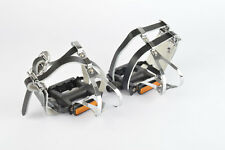 NEW Wellgo #M085 pedals including toeclips and double straps from 1990s NOS