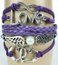 Hearts Angel Wings Love Letters Purple Infinity Layer Wrap Bracelet