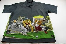 Dragonfly Dogs Playing Pool 8 Ball Artwork Short Sleeve Button Up Shirt Large L