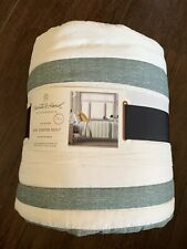 New Hearth & Hand Magnolia Green Twin Quilt Engineered Stripe Farmhouse