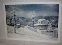 Winters Eve Kentucky Artist Fred Thrasher Country Church Farm house Winter Snow