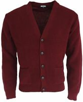 Mens Burgundy Waffle Knitted Cardigan - Relco