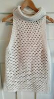 Free People Beige Sleeveless Open Knit Women's Jumper Sweater Boho Size S