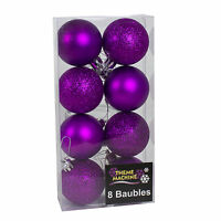 Purple Glitter/Plain Christmas Tree Decorations Baubles Stars Cones & More