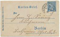 BERLIN 1893 3 Pf Privat-GA-Kartenbrief der Neue Berl. Omnibus Packetfahrt AG K1