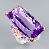 Vintage36ct+ Natural Amethyst 925 Sterling Silver Ring Size 7.5/R125599