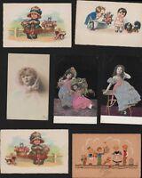Vintage Postcards Children Girls Boys French Etc Mix AG.347
