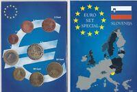 Kursmünzensatz aus Slowenien: 1 Cent - 2 Euro (2007) im Folder( Leuchtturm)