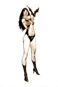 "NEWTON BURCHAM original art, VAMPIRELLA w/ bat, Classic pose, 11"" x 17"", 2011"