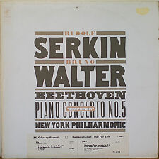 BEETHOVEN: Piano Concerto No. 5 (Emperor)-M1977LP SERKIN/WALTER WHITE LBL PROMO