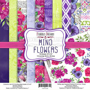 Mind Flowers - Fabrika Decoru - 12X12 Scrapbooking Paper 10 sheets