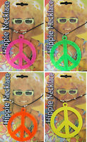 New Adults Unisex Peace Sign Hippie Festive Neon Colours Necklace One Size »