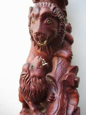 Old Chinese / Southeast Asia Hand Carved Wood Sculpture Statue Father & Son Lion