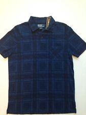 New $125 Ralph Lauren Blue Indigo Plaid Polo Shirt S Jersey Cotton light weight