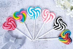 Love Heart Lollipops Rainbow Sweets Rock Candy Lollies Wedding Favours Party