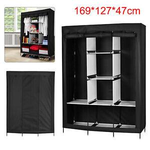 "50"" Fabric Fold Cloth Wardrobe Closet Portable Organizer Hanging Bedroom Storage"